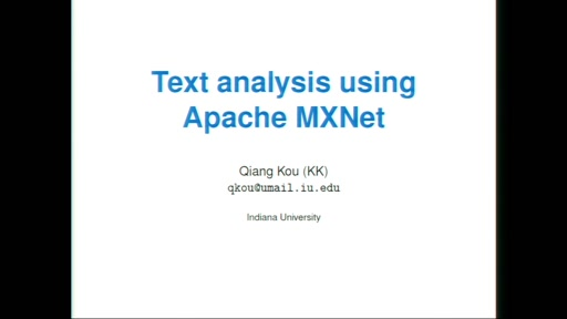 Text analysis using Apache MxNet