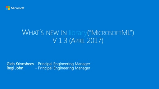MicrosoftML 1.3.0: What's new for machine learning in Microsoft R Server