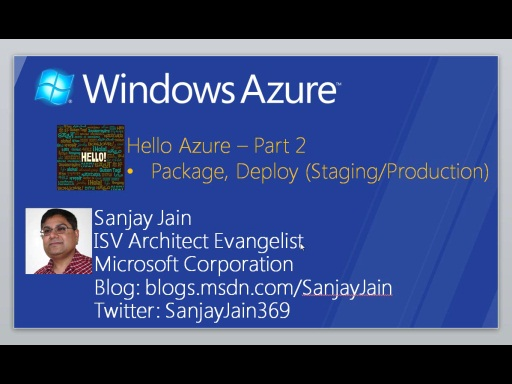 Windows Azure – How Do I: Hello Azure (Part 2)