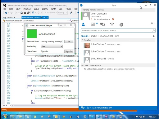 Lync 2013: Retrieve and publish presence