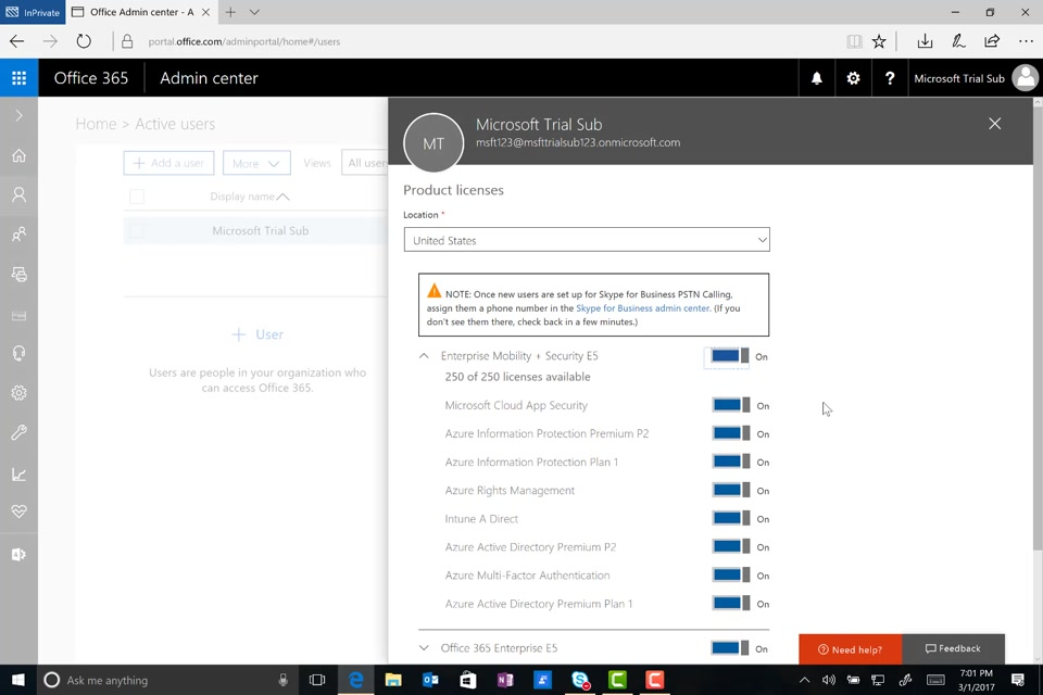 Adding Enterprise Mobility + Security (EMS) Trial Licenses