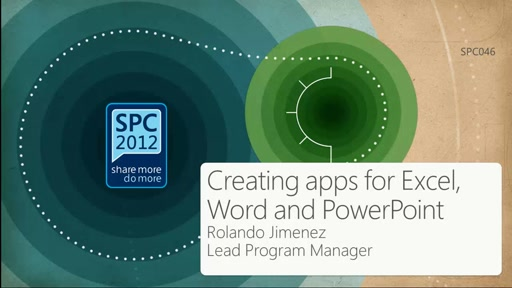 Creating apps for Excel, Word and PowerPoint