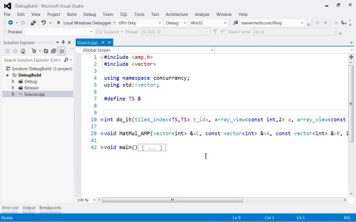 GPU debugging in Visual Studio 2012