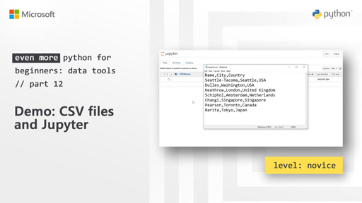Demo: CSV files and Jupyter |  Even More Python for Beginners - Data Tools [12 of 31]