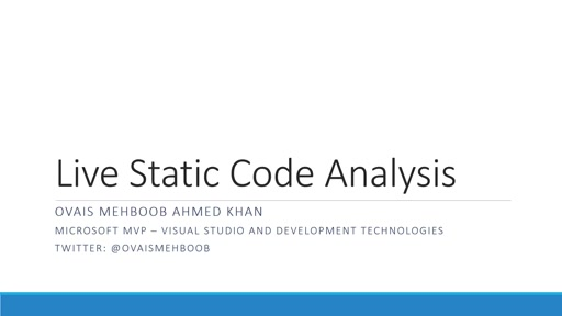 Live Static Code Analysis in Visual Studio 2015