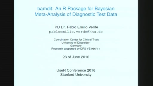 bamdit: An R Package for Bayesian meta-analysis of diagnostic test data