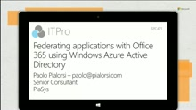 Federating applications with Office 365 using Windows Azure Active Directory