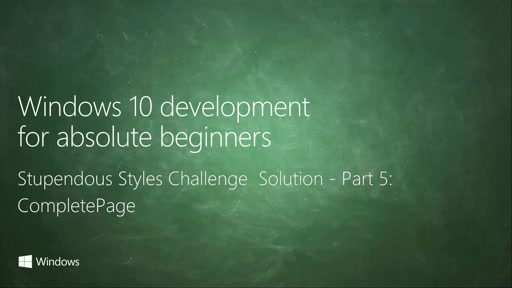 UWP-036 - Stupendous Styles Challenge Solution - Part 5: CompletePage