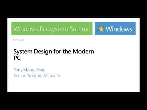 System design for the Modern PC