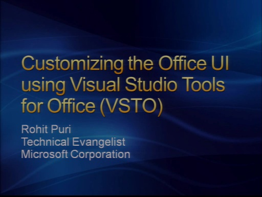 VS2008 Training Kit: Extending the Office Fluent UI using VSTO