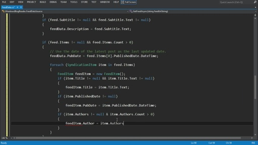 C# Blog Reader - 2 - Get data into an app