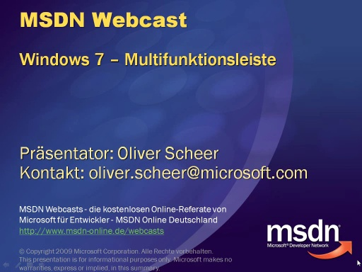 Windows 7 APIs - Teil 1 - Die Multifunktionsleiste