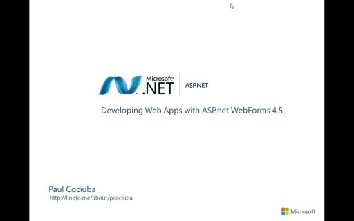 01 - A first look at Visual Studio 2012 and the ASP.net 4.5 project template for webforms