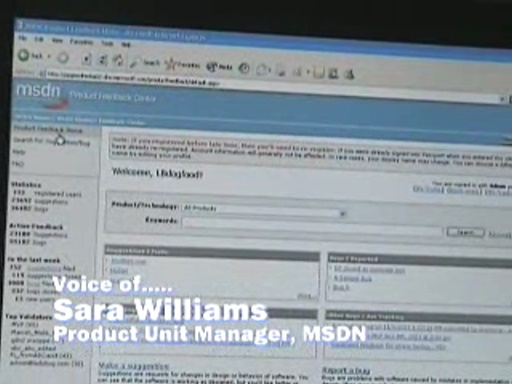Sara Williams - Demo of new MSDN Product Feedback Center