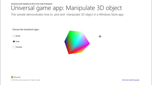 How to pick and manipulate a 3D object in universal Windows game apps