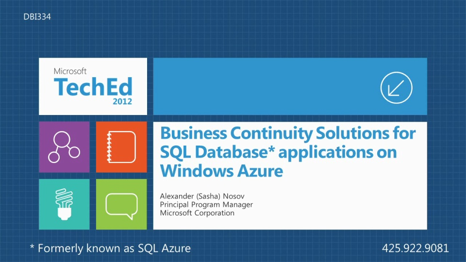 Business Continuity Solutions in Microsoft SQL Azure