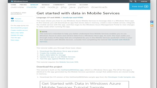 Microsoft DevRadio: (Part 2) Windows Azure Mobile Services – Storage and Data Overview