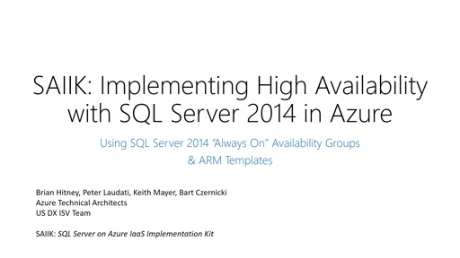 SAIIK: How To Implement High Availability with SQL Server in Azure