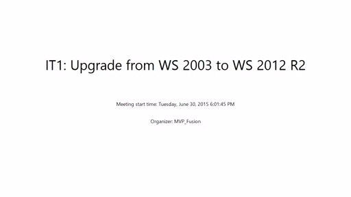 IT Pro: Upgrade from WS 2003 to WS 2012 R2