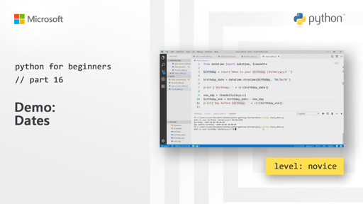 Python for Beginners [16 of 44] Demo: Dates