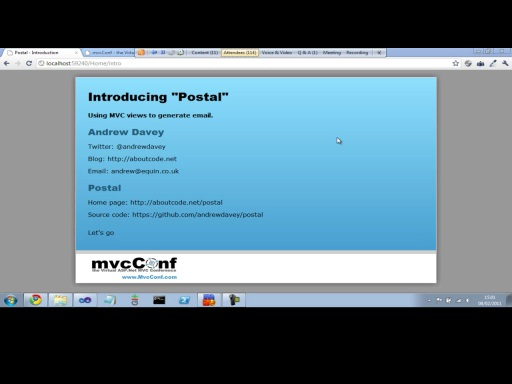 mvcConf 2 - Andrew Davey: Going Postal - Generating email with View Engines