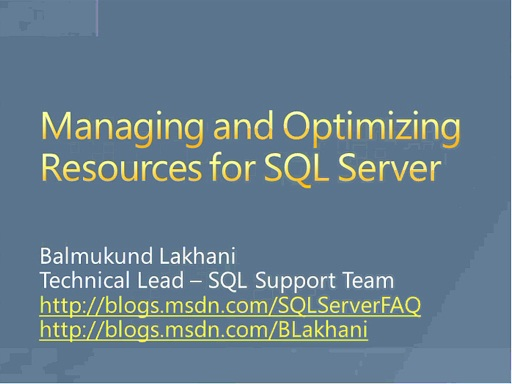 Managing SQL resources using resource governer