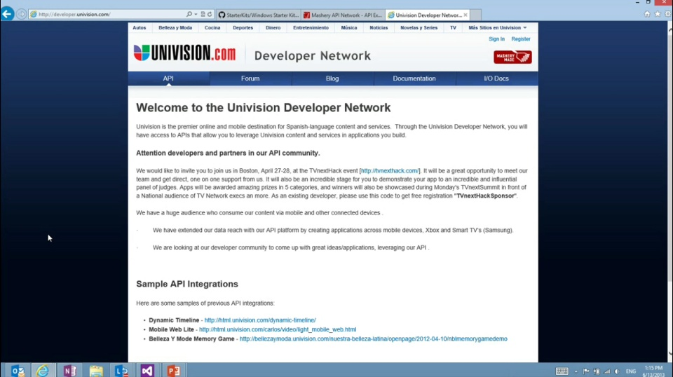 Microsoft DevRadio: (Part 4) APIMASH – Univision API Starter Kit for Windows Store Apps