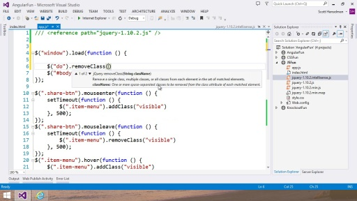 Visual Studio 2013 Web Editor Features - JavaScript