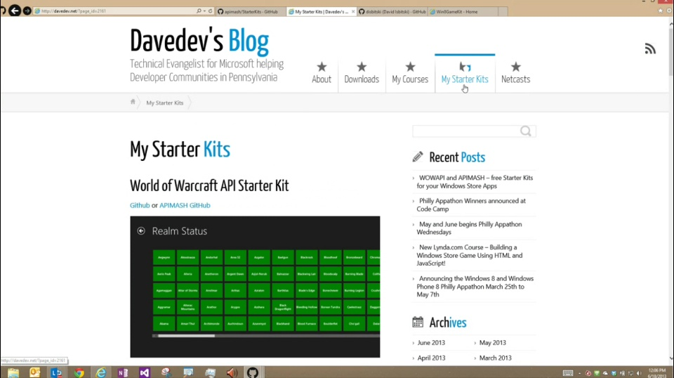 Microsoft DevRadio: (Part 3) APIMASH – World of Warcraft API Starter Kit for Windows Store Apps