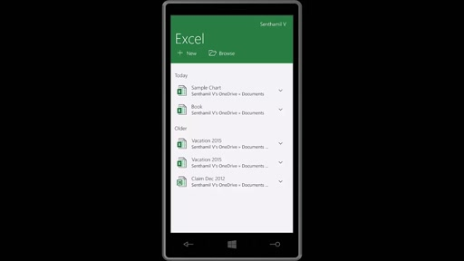 02 Senthamil Selvan -Using Excel from Windows 10 for Phone