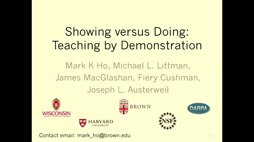 Showing versus doing: Teaching by demonstration