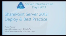 CP03 - SharePoint Server 2013 Deploy and Best Practice