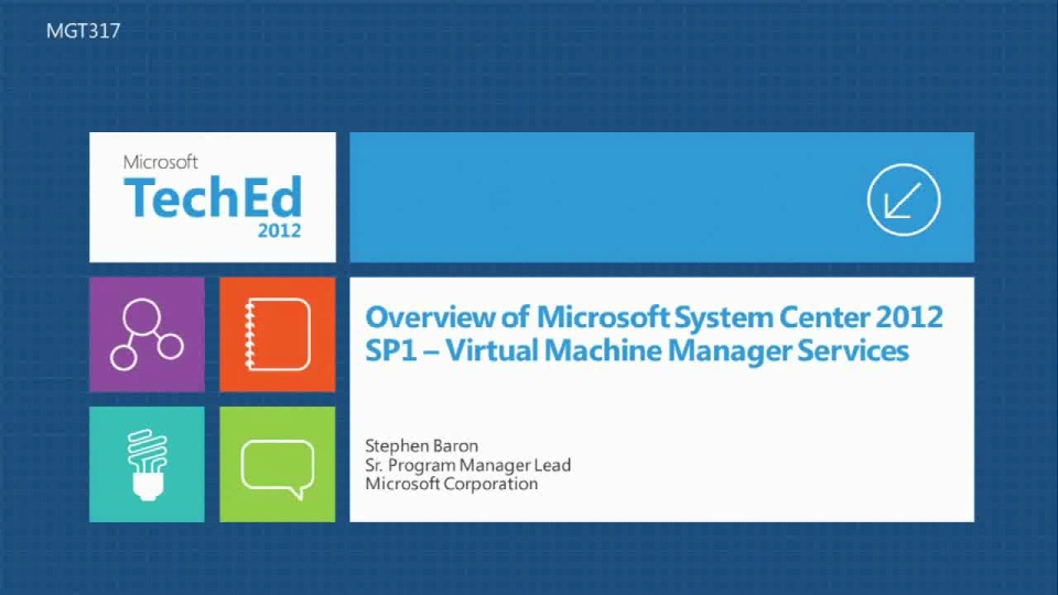 Overview of Microsoft System Center 2012 SP1 - Virtual Machine Manager Services