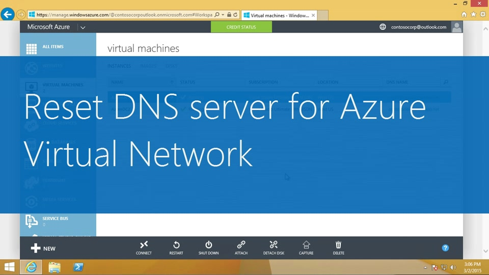 Reset DNS server for Azure virtual network
