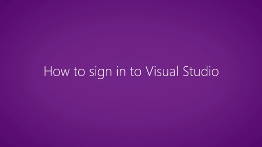 Sign in to Visual Studio 2013