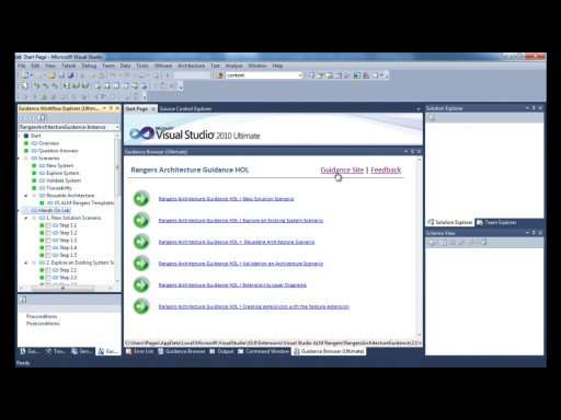 Visual Studio ALM Rangers Architecture Tooling Guidance - Show the navigation feature included in the guidance extension
