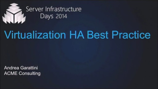Virtualization HA Best Practice - VT05