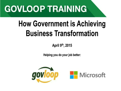 Achieving Business Transformation in Government