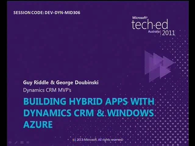 Building Hybrid Apps with Dynamics CRM & Windows Azure