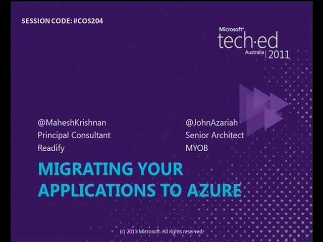 Migrating your applications to Azure