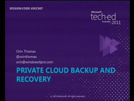 Private cloud data protection and recovery