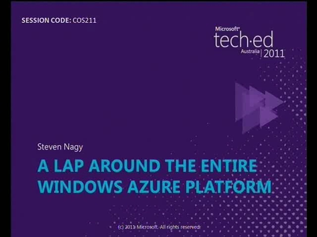 To The Cloud! A lap around the entire Windows Azure platform.