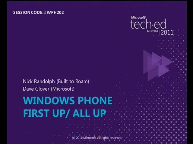 Windows Phone First Up/ All Up
