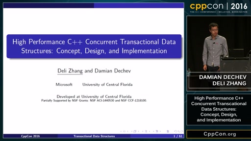 "CppCon 2016: D. Dechev & D. Zhang ""High Performance C++ Concurrent Transactional Data Structures"""
