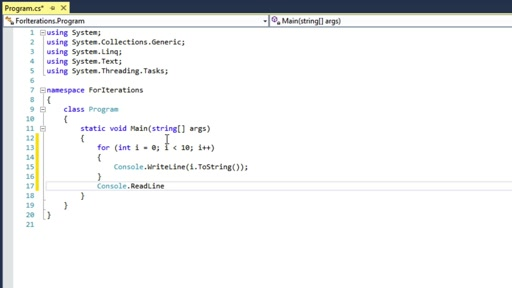 C# Fundamentals for Absolute Beginners: (09) for Iterations