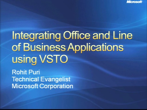 VS2008 Training Kit: Overview of Office Business Applications and VSTO