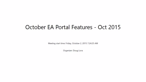 New EA Portal Features - October 2015