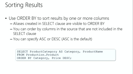 Querying with Transact-SQL: (02) Querying Tables with SELECT