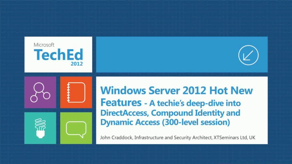 Windows Server 2012 Hot New Features - A techie's deep-dive into DirectAccess, Compound Identity and Dynamic Access (300-level session)