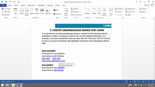 (Part 8) Creating Accessibility Documents: Links